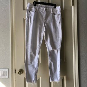 Old Navy Mid-Rise Distressed Rockstar White Jeans